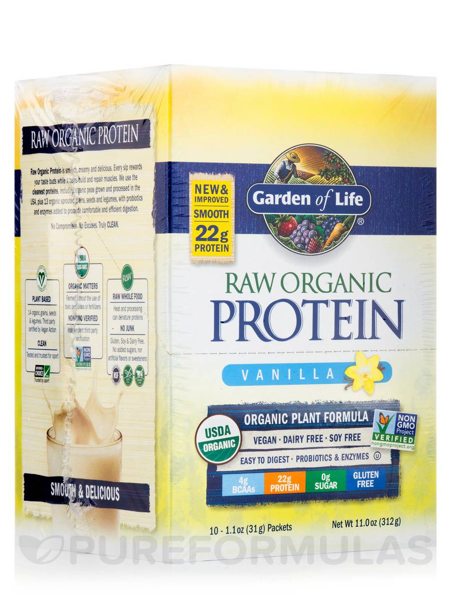 RAW Organic Protein, Vanilla Flavor - Box of 10 Packets
