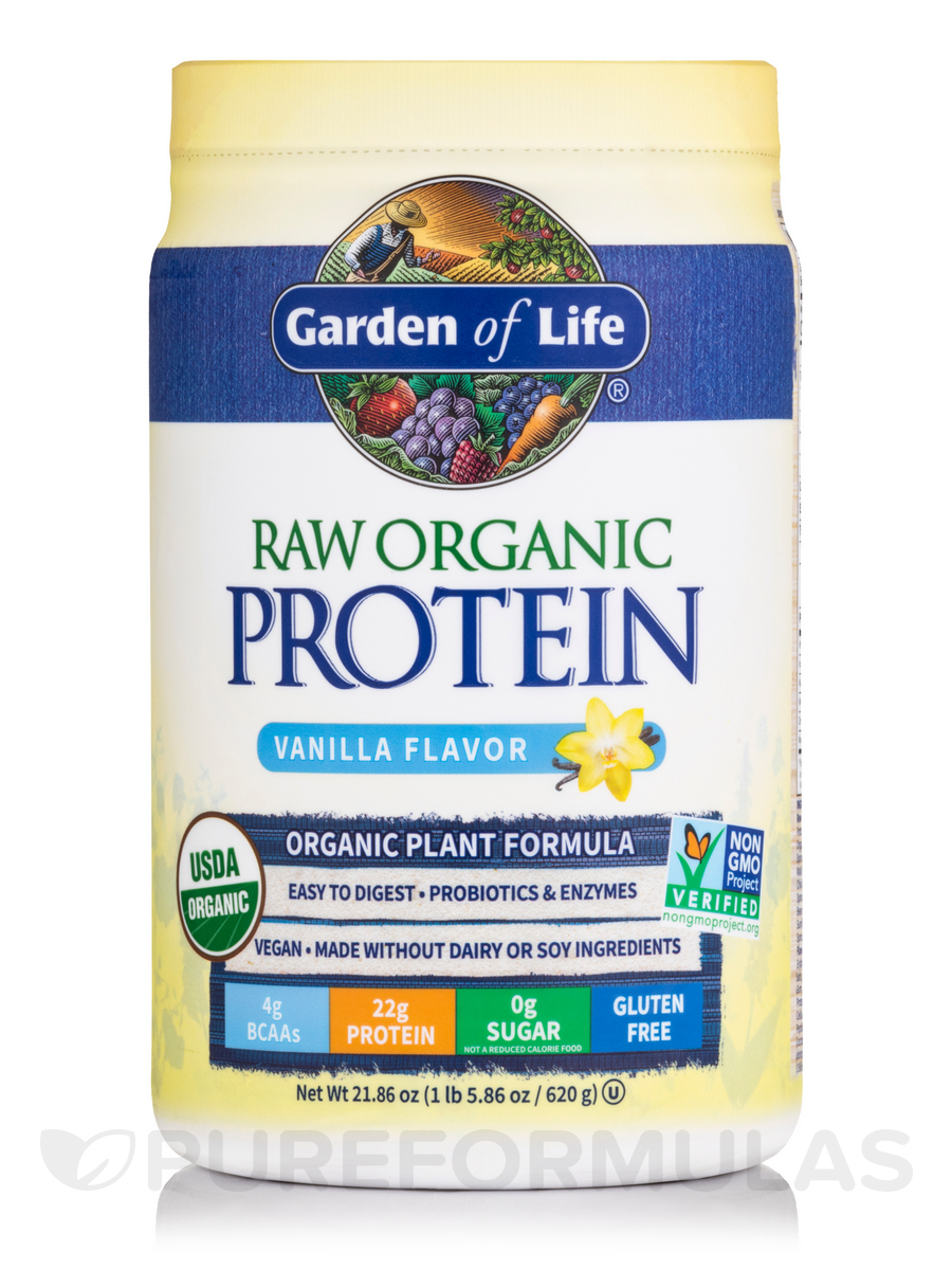 RAW Organic Protein Powder, Vanilla Flavor - 22 oz (624 Grams)