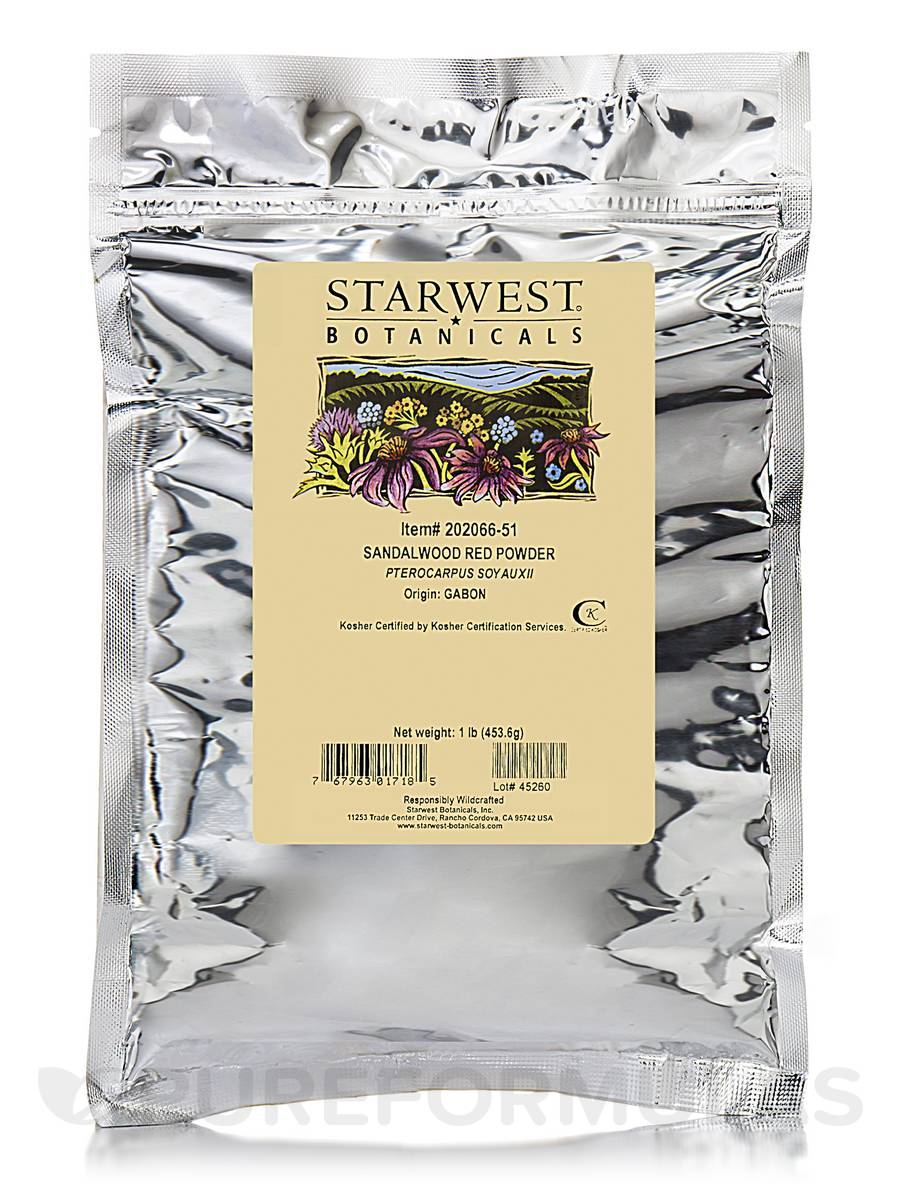 Red Sandalwood Powder (Wildcrafted) - 1 lb (453.6 Grams)