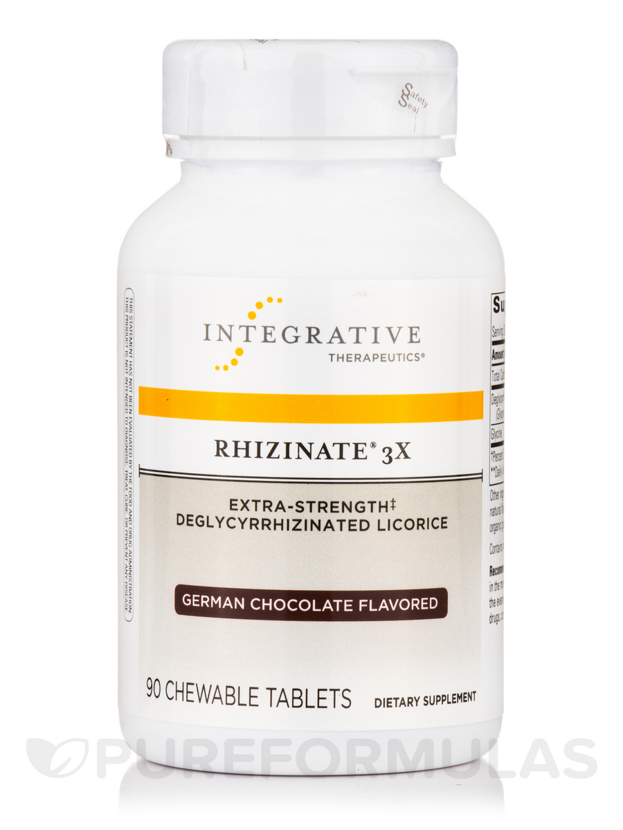 Rhizinate® 3X Extra-Strength Deglycyrrhizinated Licorice (German Chocolate Flavor) - 90 Chewable Tablets