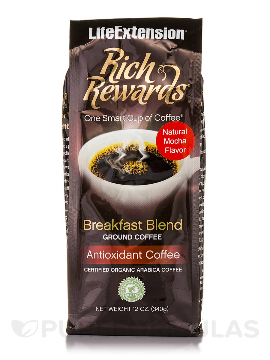 Rich Rewards Breakfast Ground Coffee (Natural Mocha Flavor) - 12 oz (340 Grams)