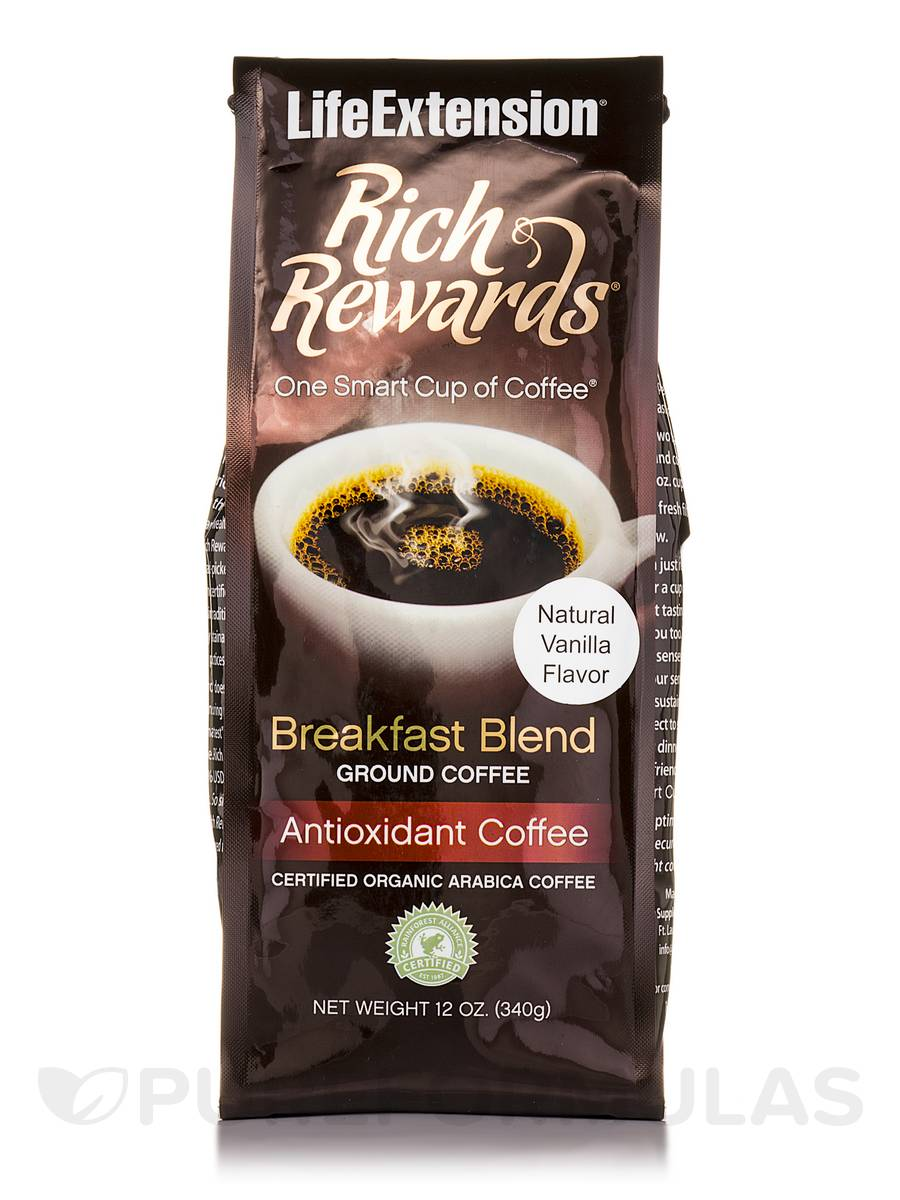 Rich Rewards Breakfast Ground Coffee (Natural Vanilla Flavor) - 12 oz (340 Grams)