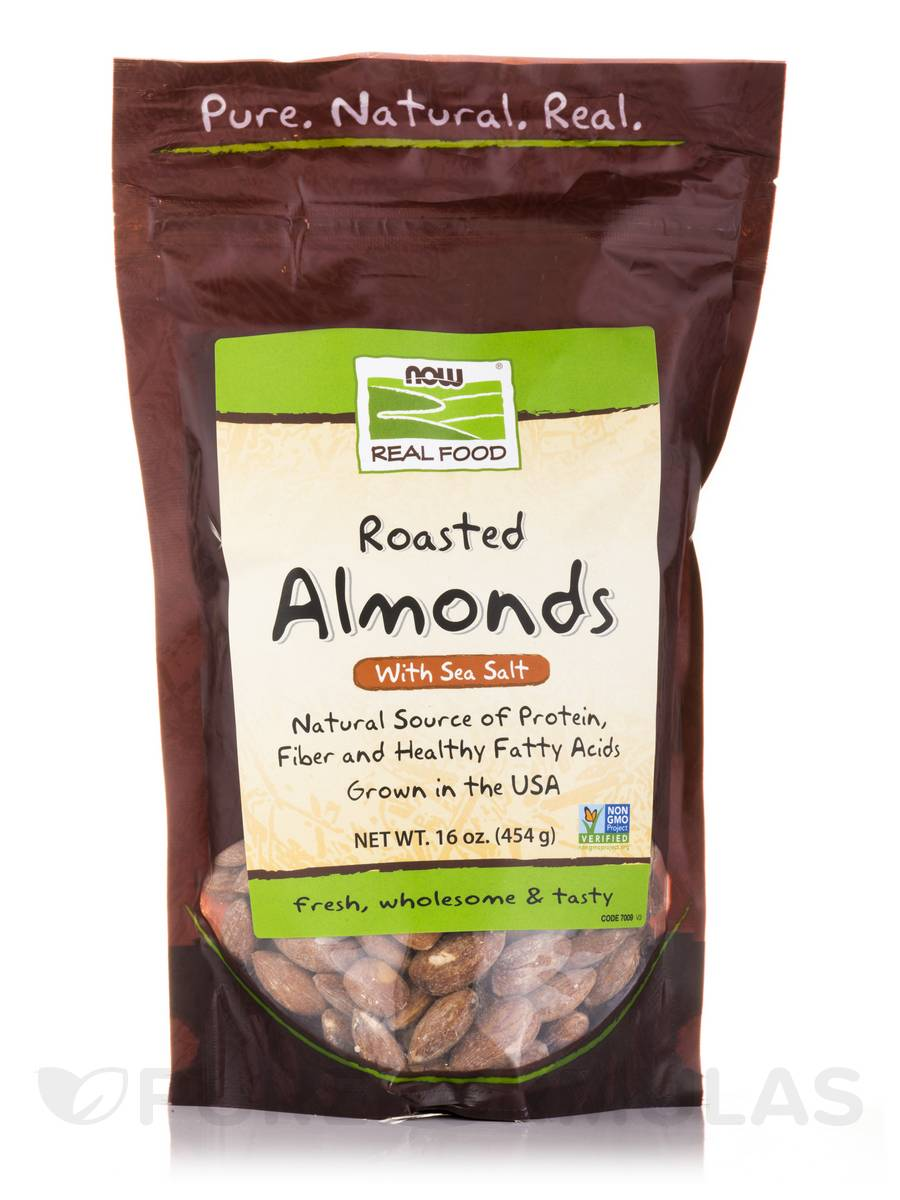 NOW® Real Food - Roasted Almonds with Sea Salt - 16 oz (454 Grams)