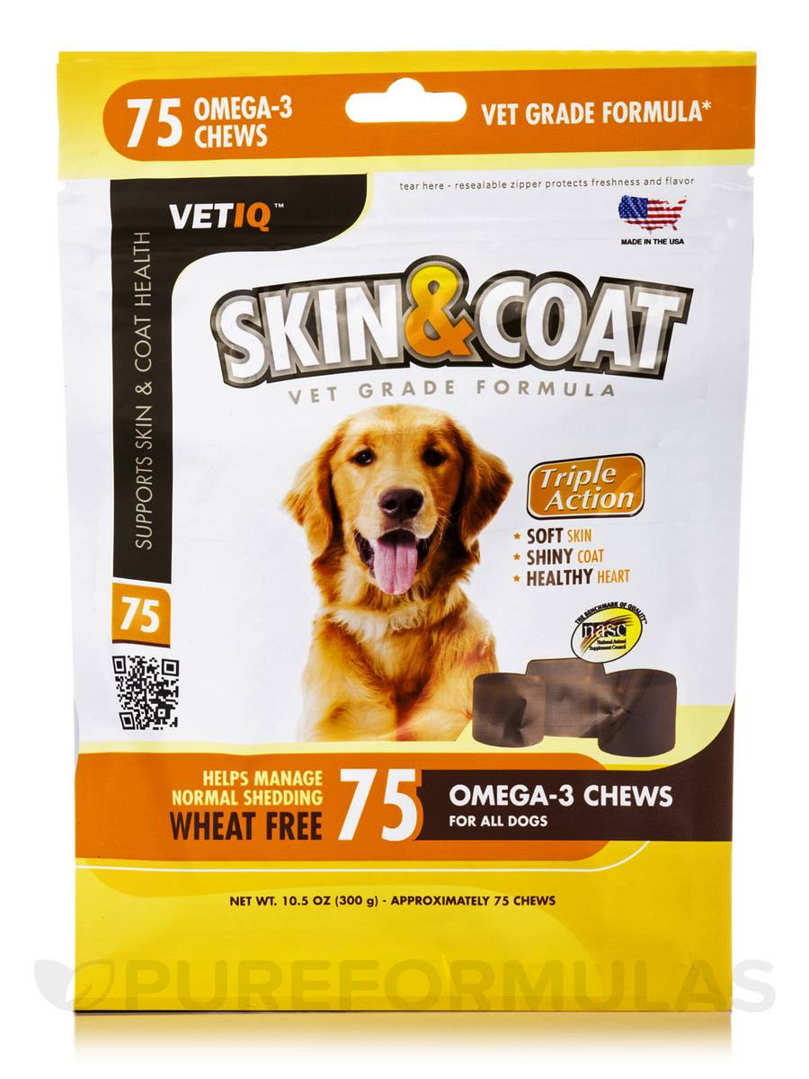 Skin & Coat for all Dog Sizes - 75 Omega-3 Chews (10.5 oz / 300 Grams)