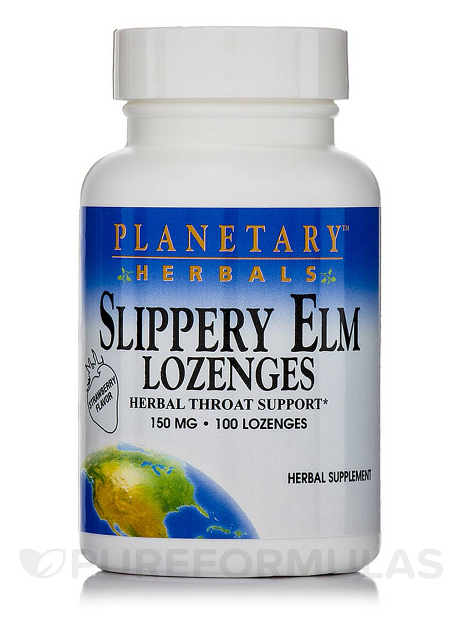 Slippery Elm Lozenges Strawberry 150 mg - 100 Count