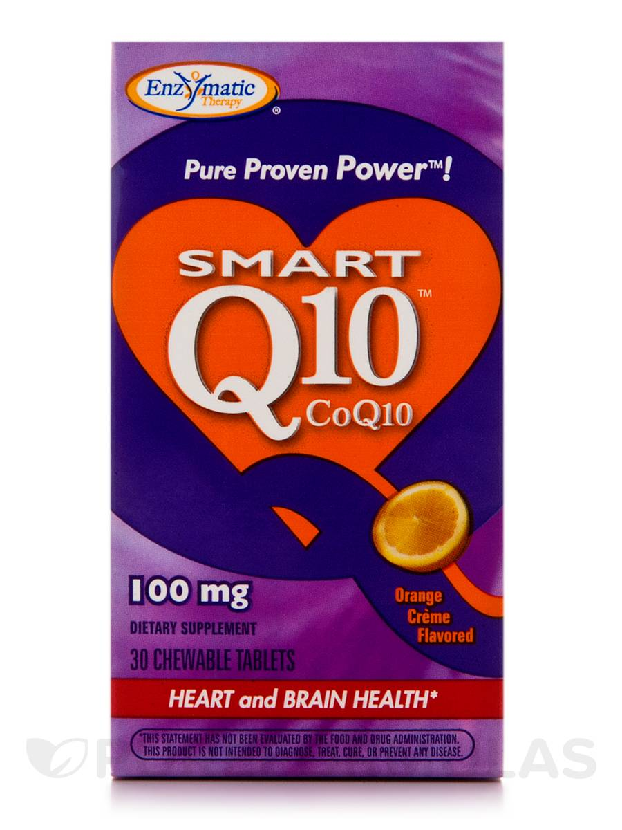 Smart Q10 CoQ10 100 mg Orange Creme Flavor - 30 Chewable Tablets
