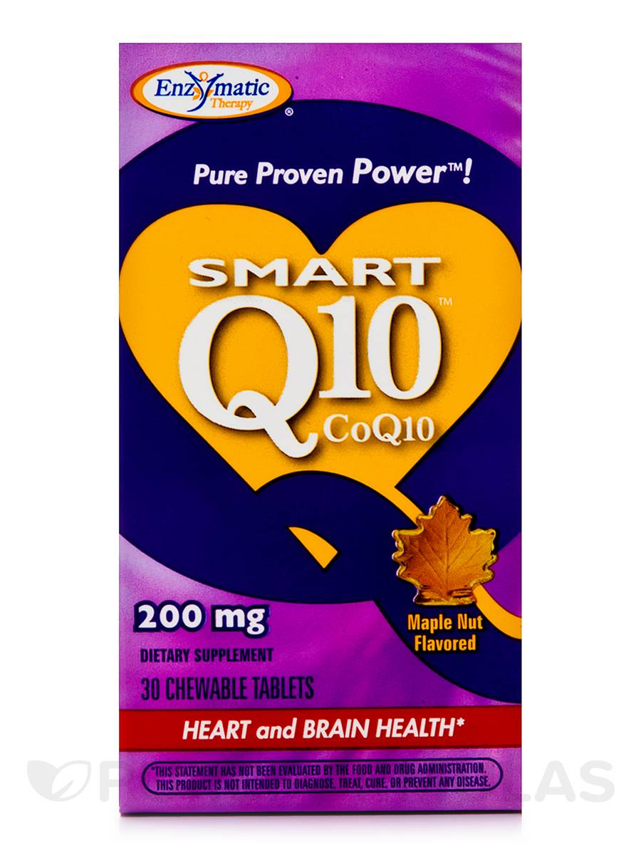 Smart Q10 CoQ10 200 mg Maple Nut Flavor - 30 Chewable Tablets