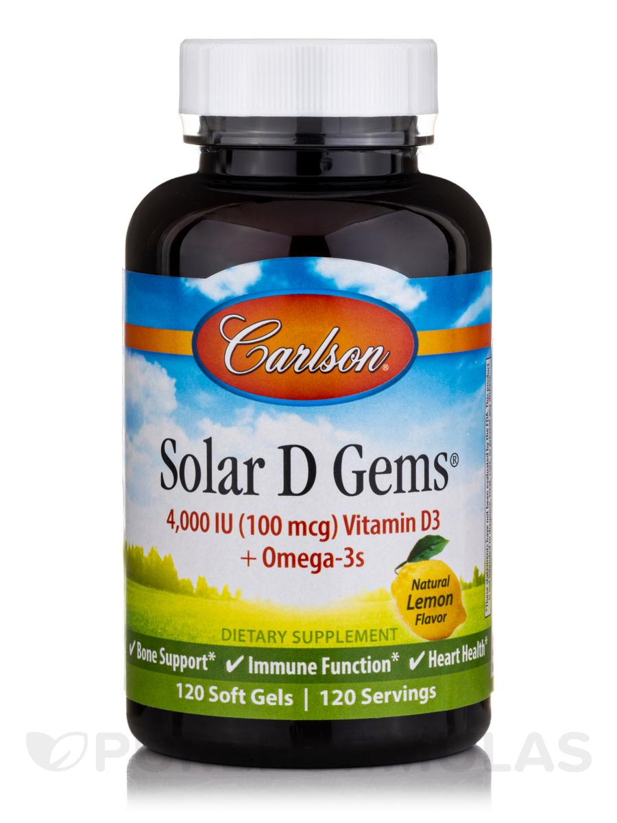 Solar D Gems® 4000 IU Vitamin D3 plus Omega-3s - 120 Soft Gels