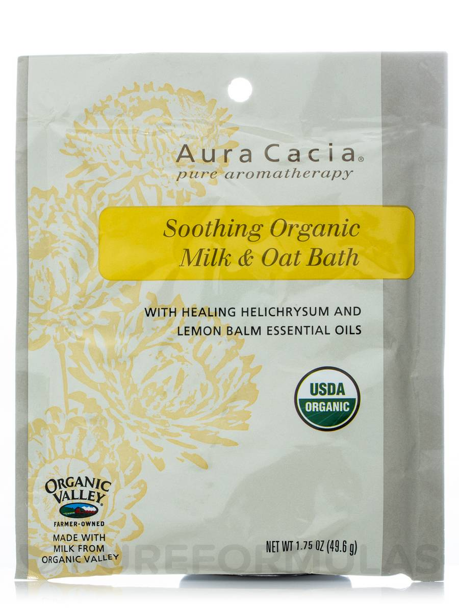 Soothing Organic Milk & Oat Bath with Healing Helichrysum and Lemon Balm Essential Oils - 1.75 oz (49.6 Grams)