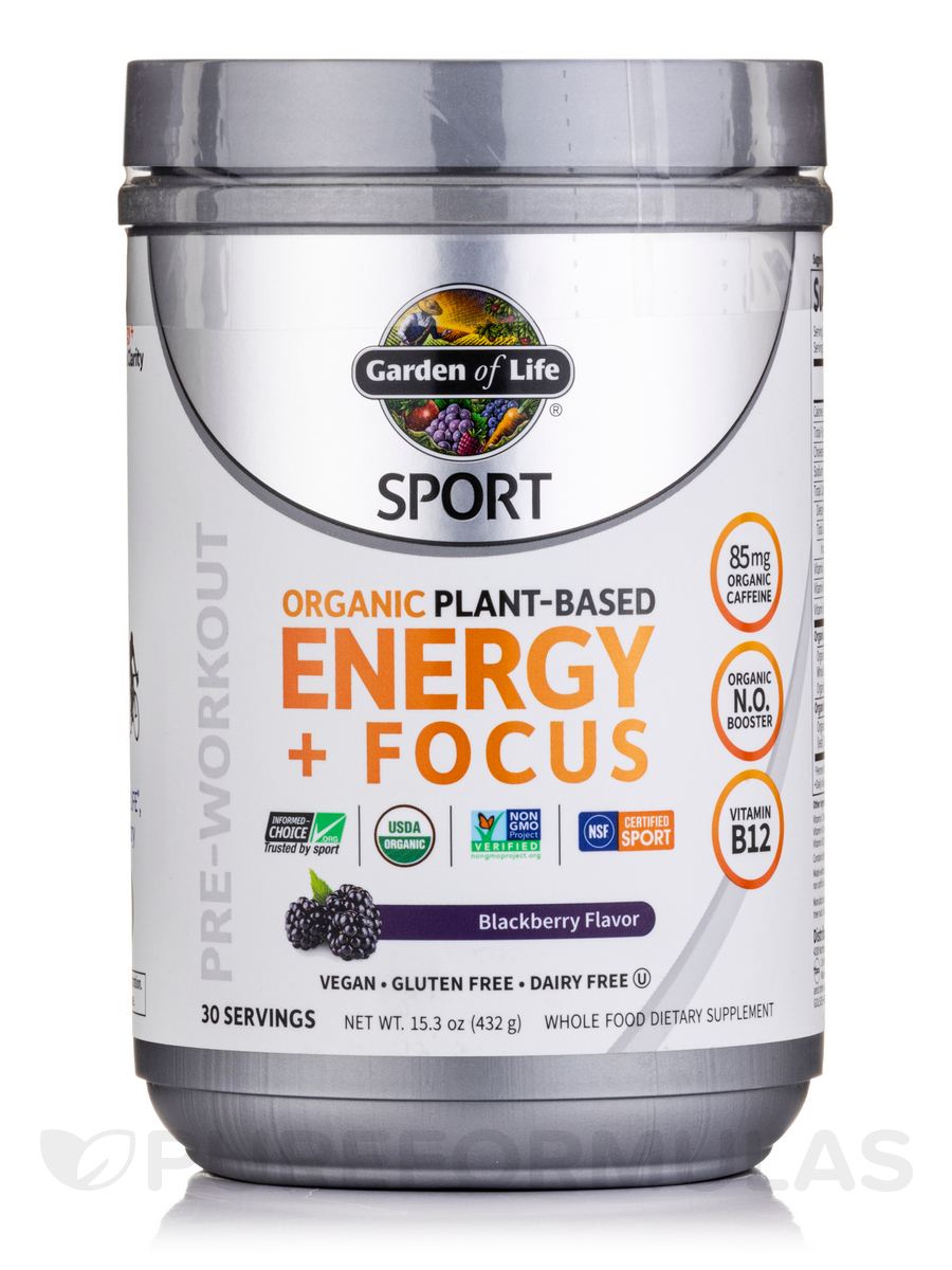 Sport organic plant based energy focus blackberry 15 3 oz 432 grams for Garden of life energy and focus