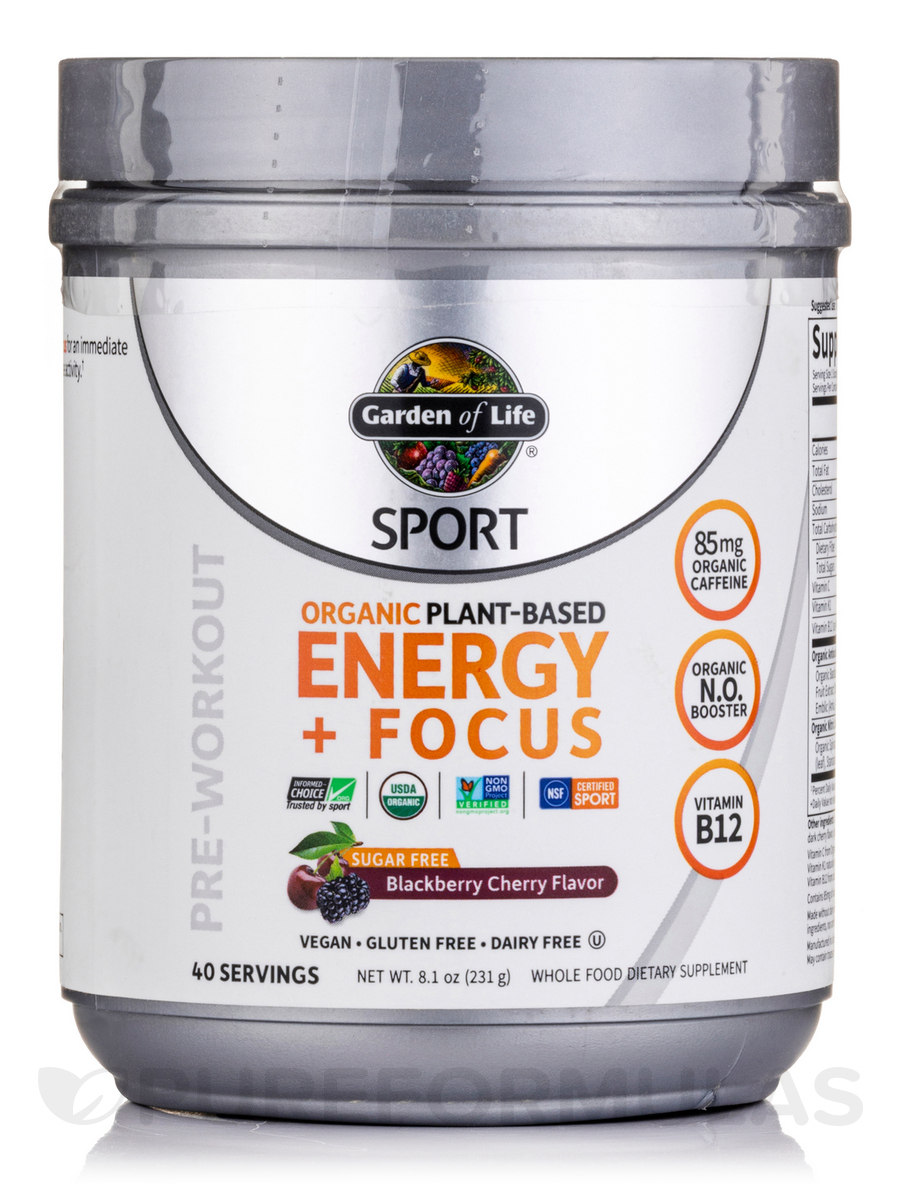 Sport organic plant based energy focus sugar free blackberry cherry 8 1 oz 231 grams for Garden of life energy and focus