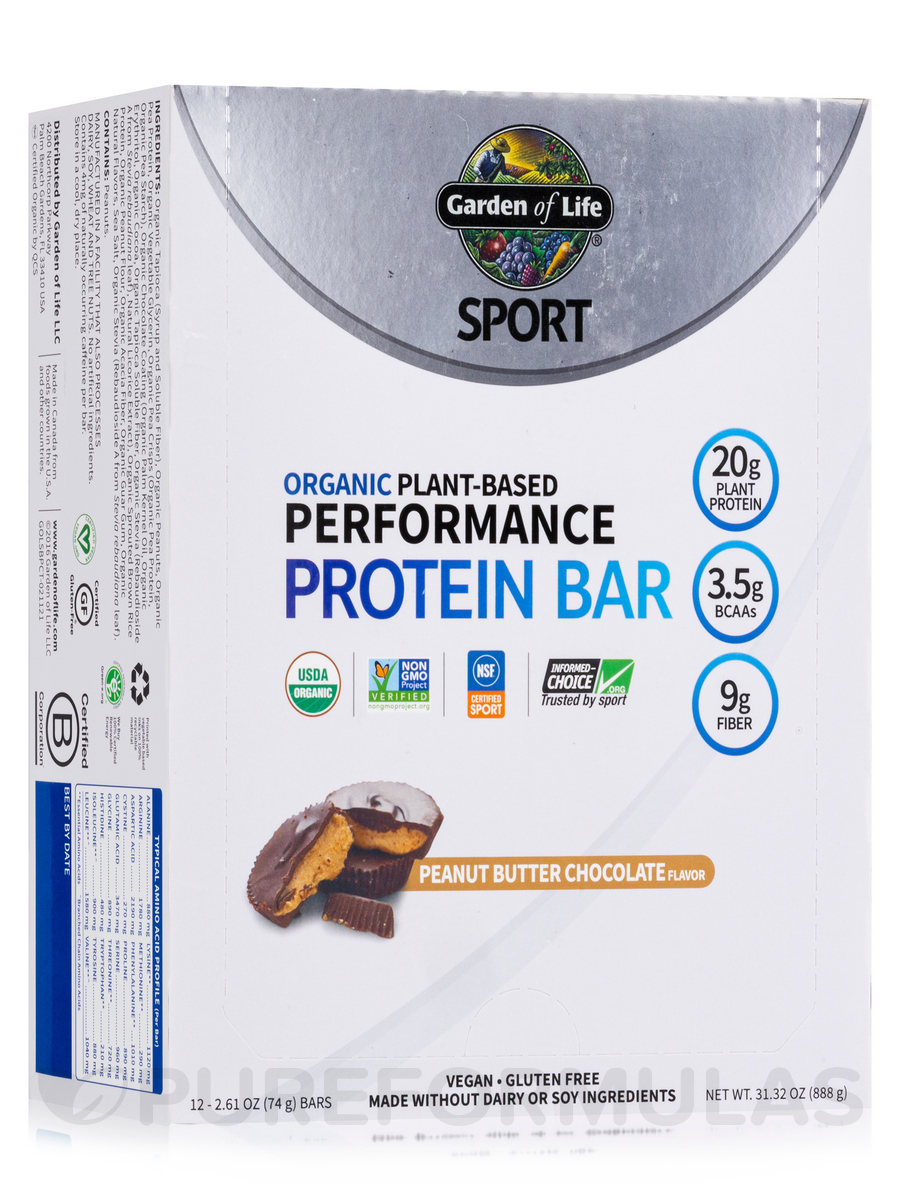 Sport Organic Plant-Based Performance Protein Bar, Peanut Butter Chocolate - Box of 12 Bars (2.7 oz / 75 Grams Each)