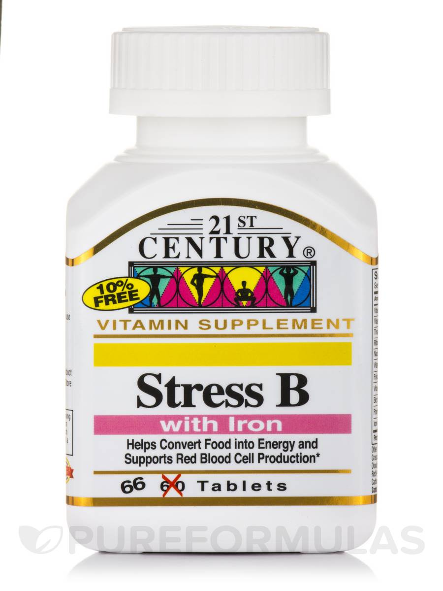 Stress B with Iron - 66 Tablets