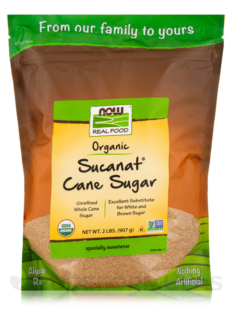 NOW Real Food® - Sucanat Cane Sugar (Certified Organic) - 2 lbs (907 Grams)