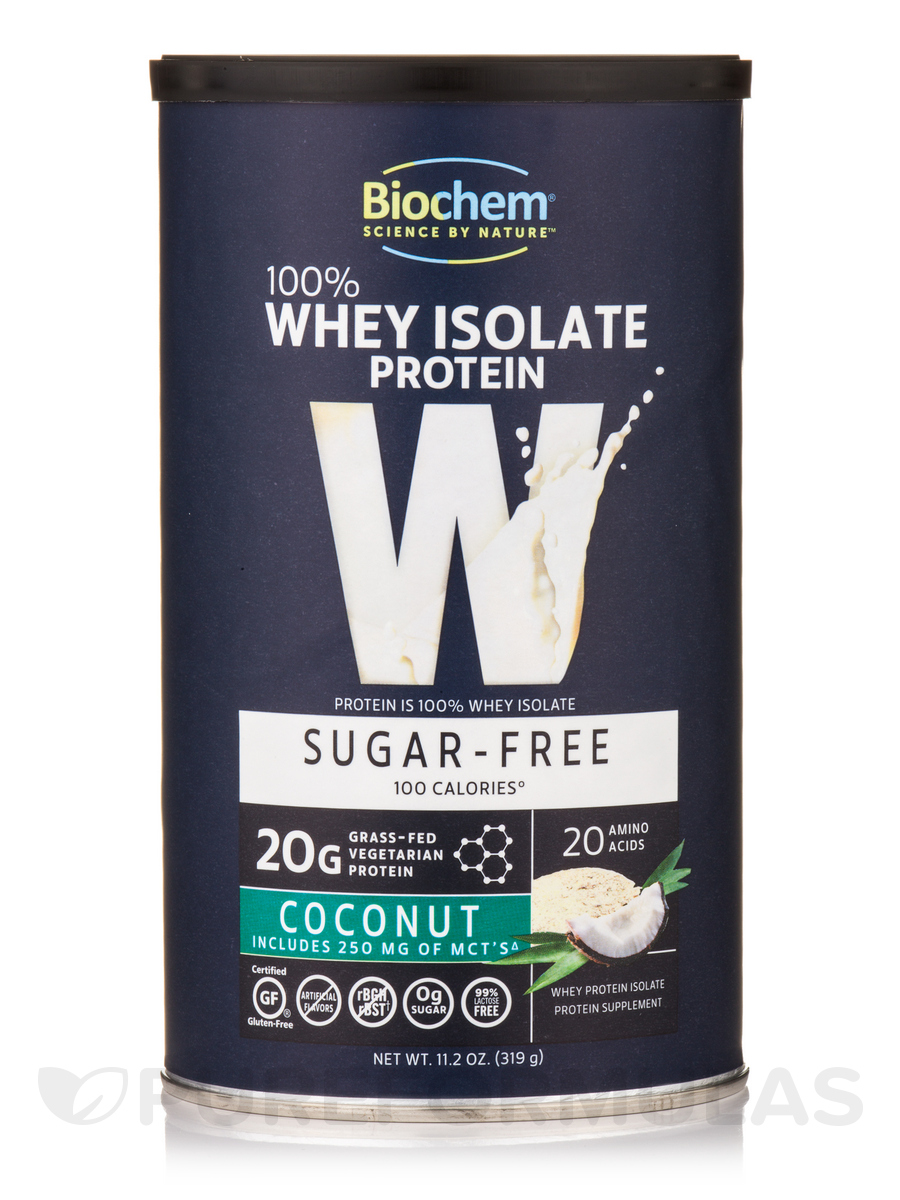 100% Whey Isolate Protein Powder (Sugar Free), Coconut Flavor - 11.2 oz (319 Grams)