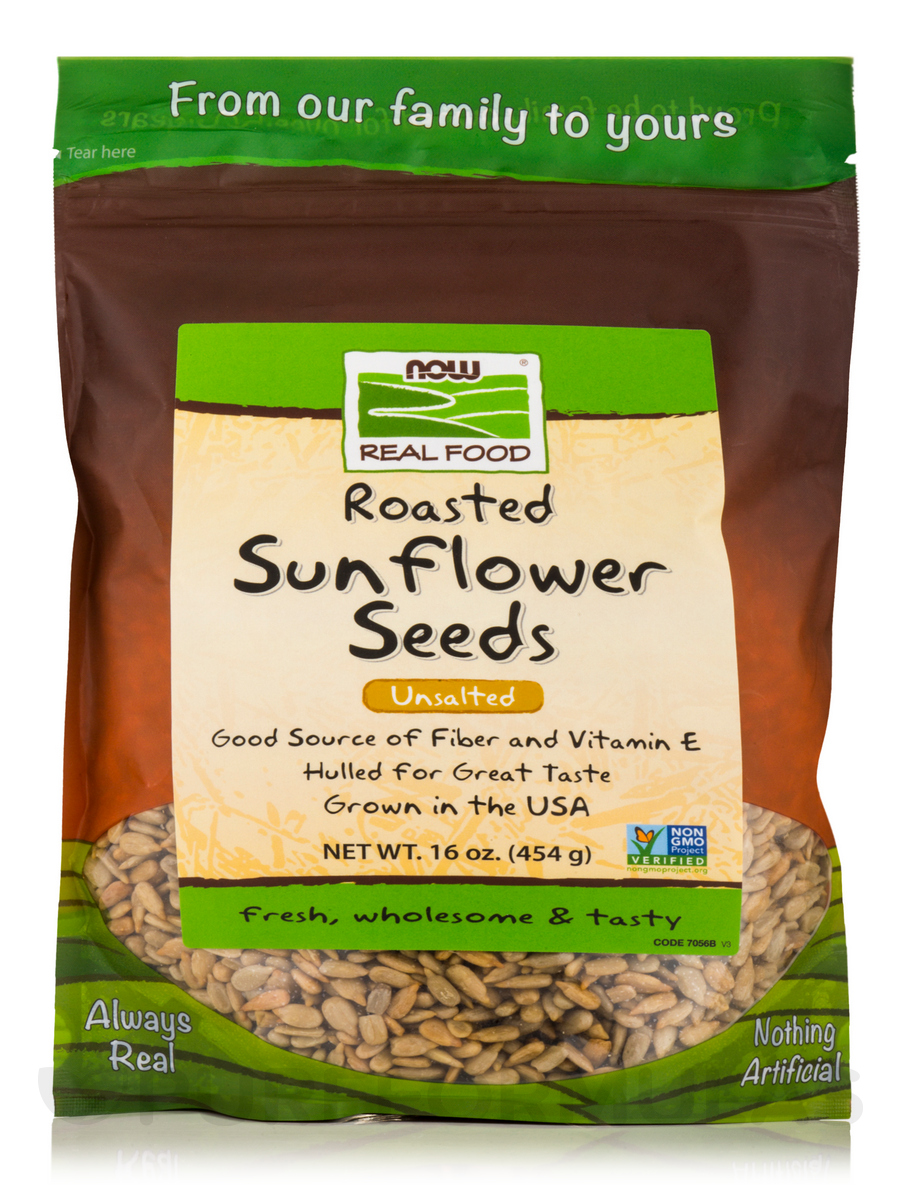 NOW® Real Food - Roasted Sunflower Seeds Unsalted - 16 oz (454 Grams)