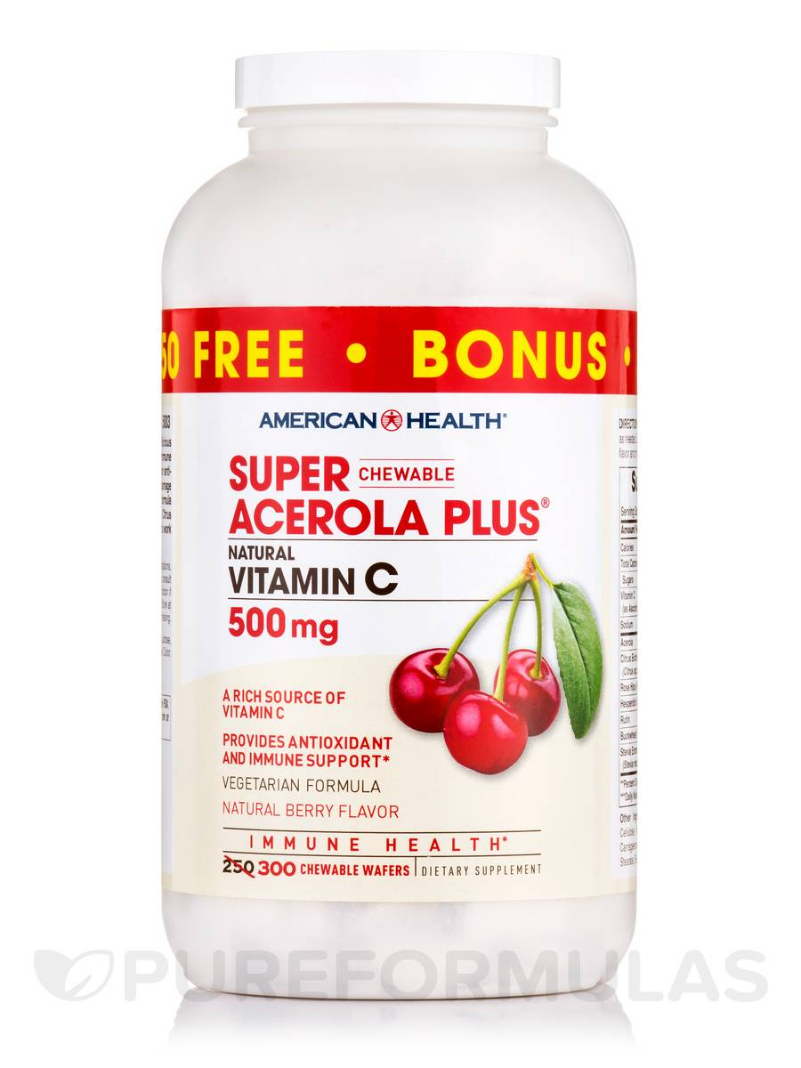 Super Chewable Acerola Plus® Natural Vitamin C 500 mg - 250 Chewable Wafers + 50 FREE