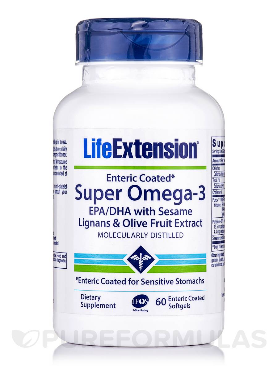 Super Omega-3 EPA/DHA with Sesame Lignans & Olive Fruit Extract Enteric Coated - 60 Softgels