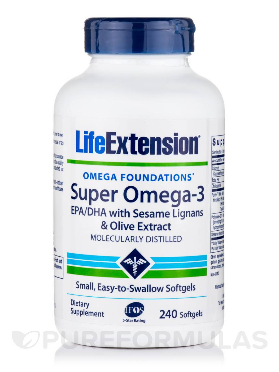 Super Omega-3 EPA/DHA with Sesame Lignans & Olive Extract - 240 Softgels