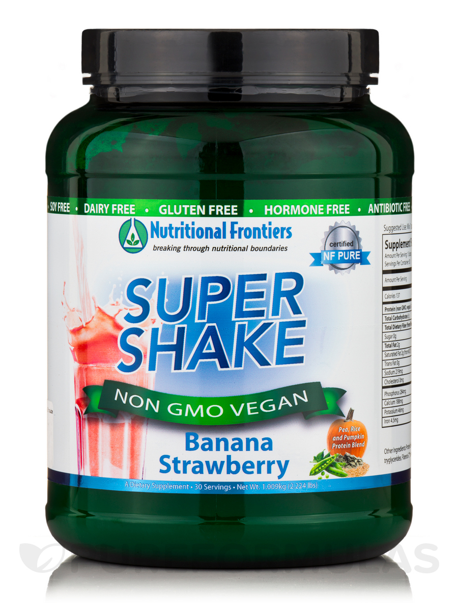 Super Shake Banana-Strawberry Non GMO Vegan Powder - 30 Servings (2.224 lbs / 1.009 Kg)
