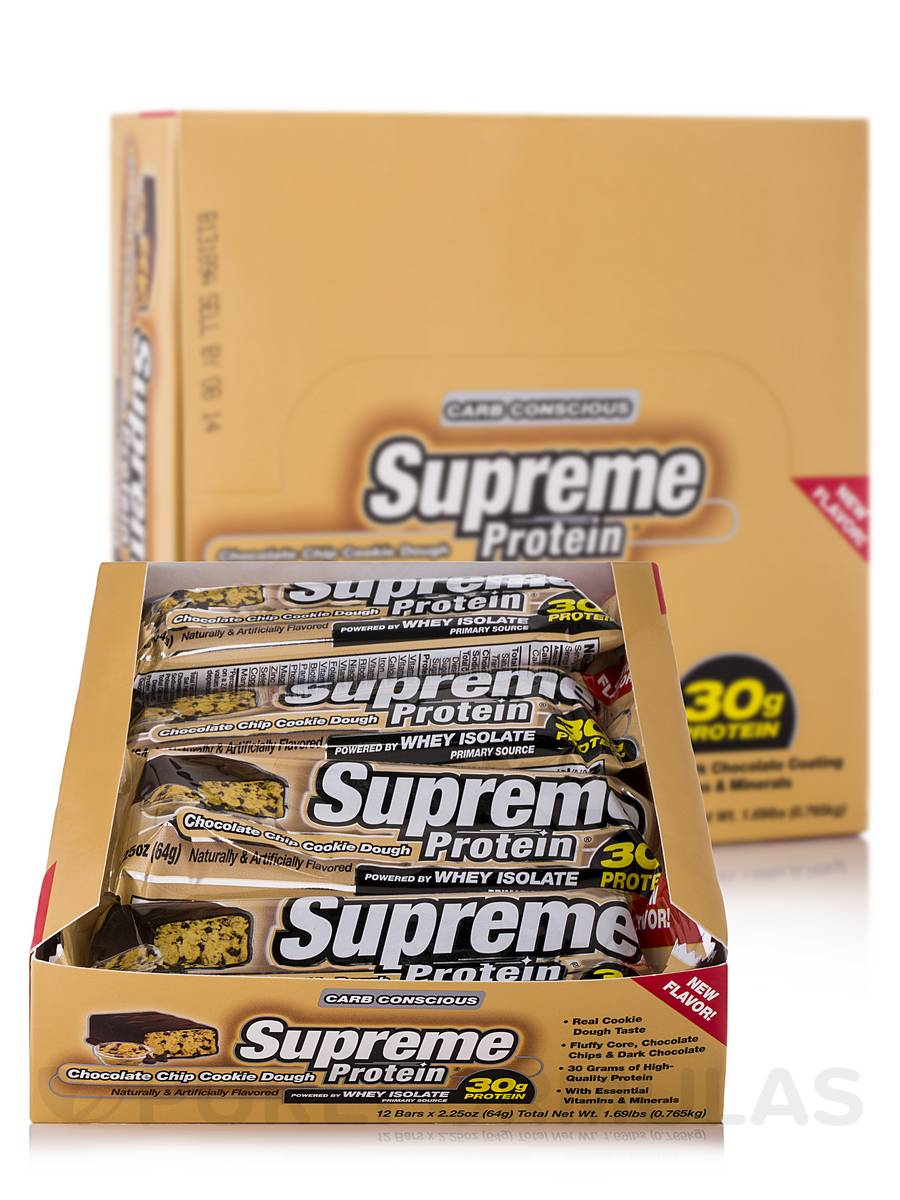 Supreme Protein Bar Chocolate Chip Cookie Dough - Box of 12 Bars