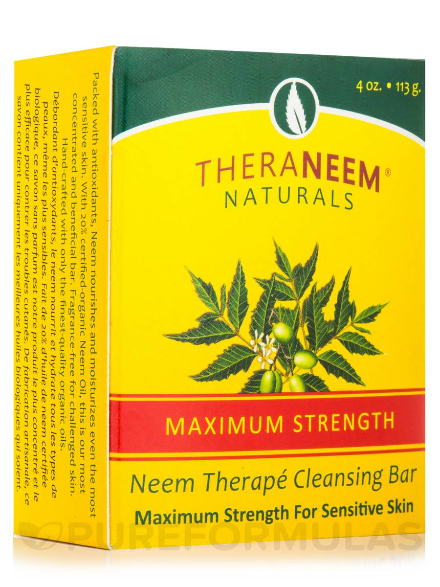 TheraNeem® Naturals Maximum Strength Neem Oil Cleansing Bar, Fragrance Free - 4 oz (113 Grams)