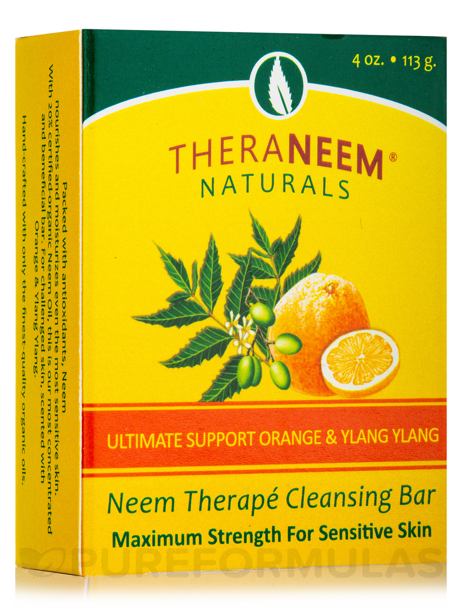 TheraNeem® Naturals Neem Therapé Cleansing Bar, Ultimate Support Orange & Ylang Ylang - 4 oz (113 Grams)