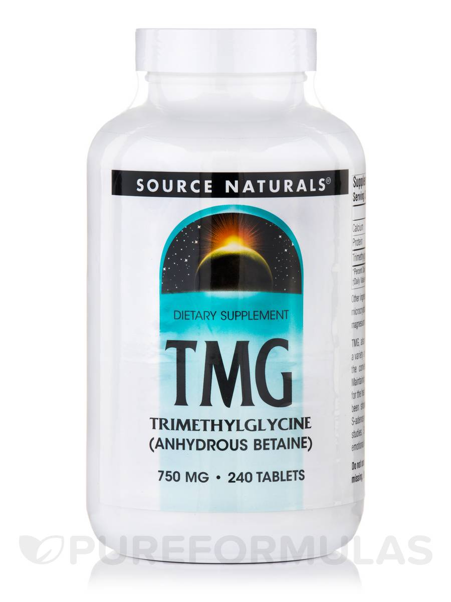 TMG Trimethylglycine (Anhydrous Betaine) 750 mg - 240 Tablets