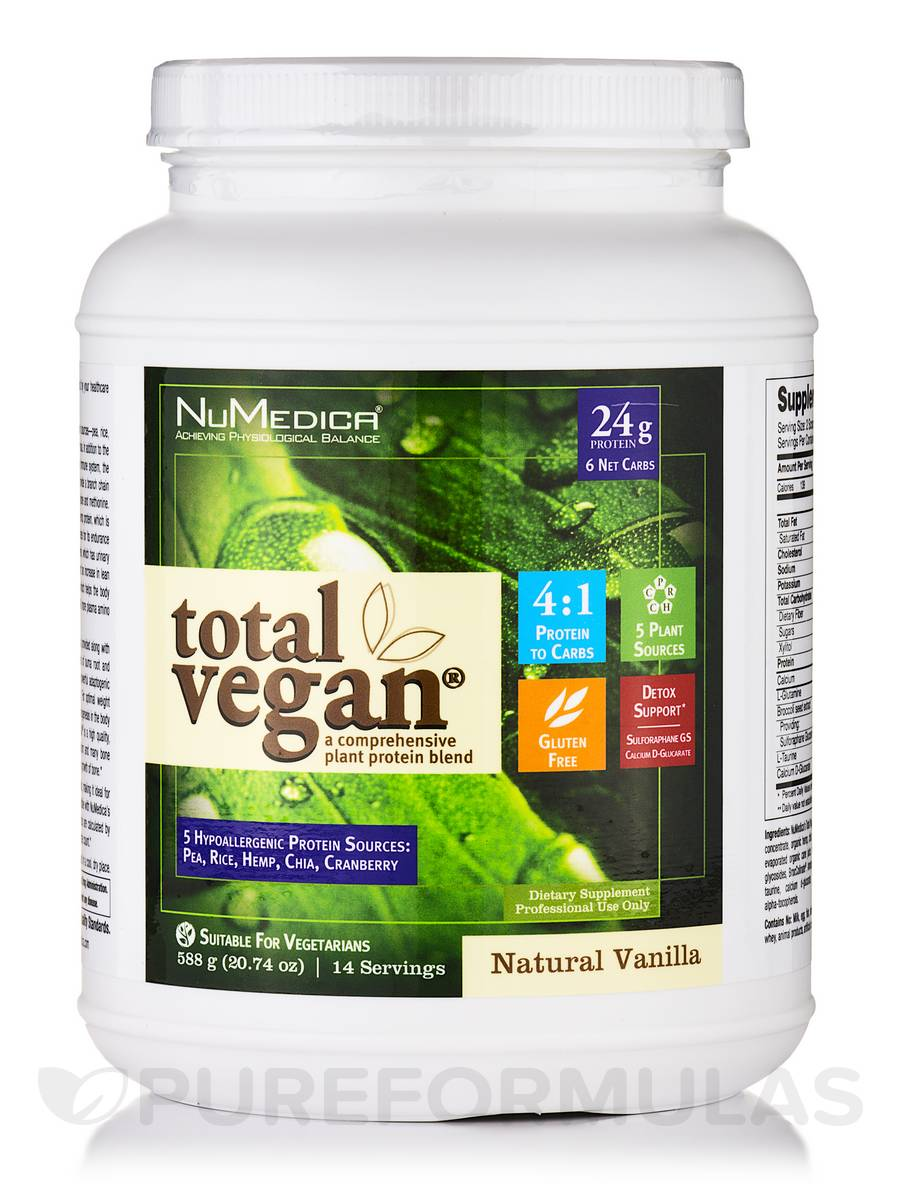 Total Vegan® Natural Vanilla - 14 Servings (20.74 oz / 588 Grams)
