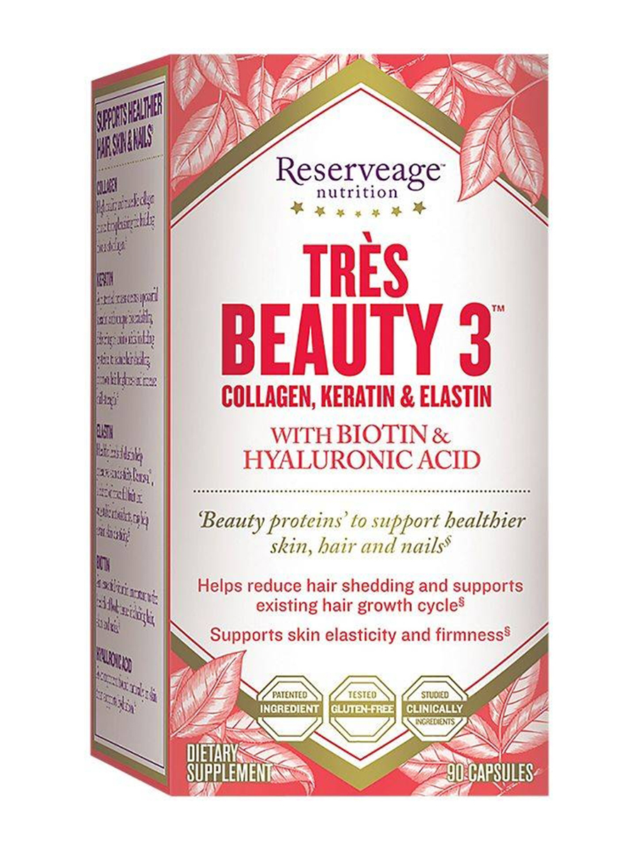 Très Beauty 3 Collagen Keratin Elastin With Biotin And Hyaluronic Acid 90 Capsules