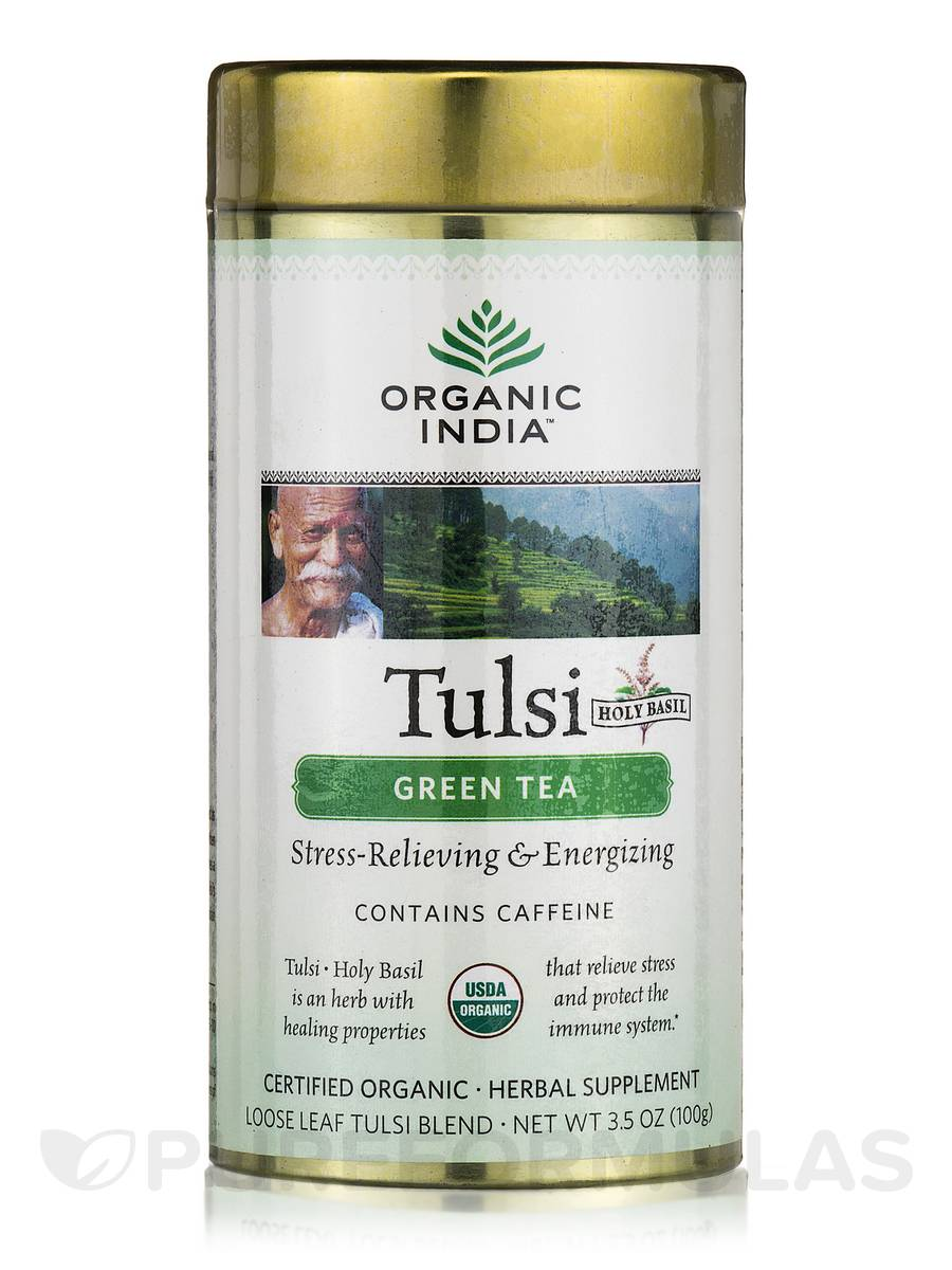 Tulsi Green Tea Canister (with Caffeine) - 3.5 oz (100 Grams)