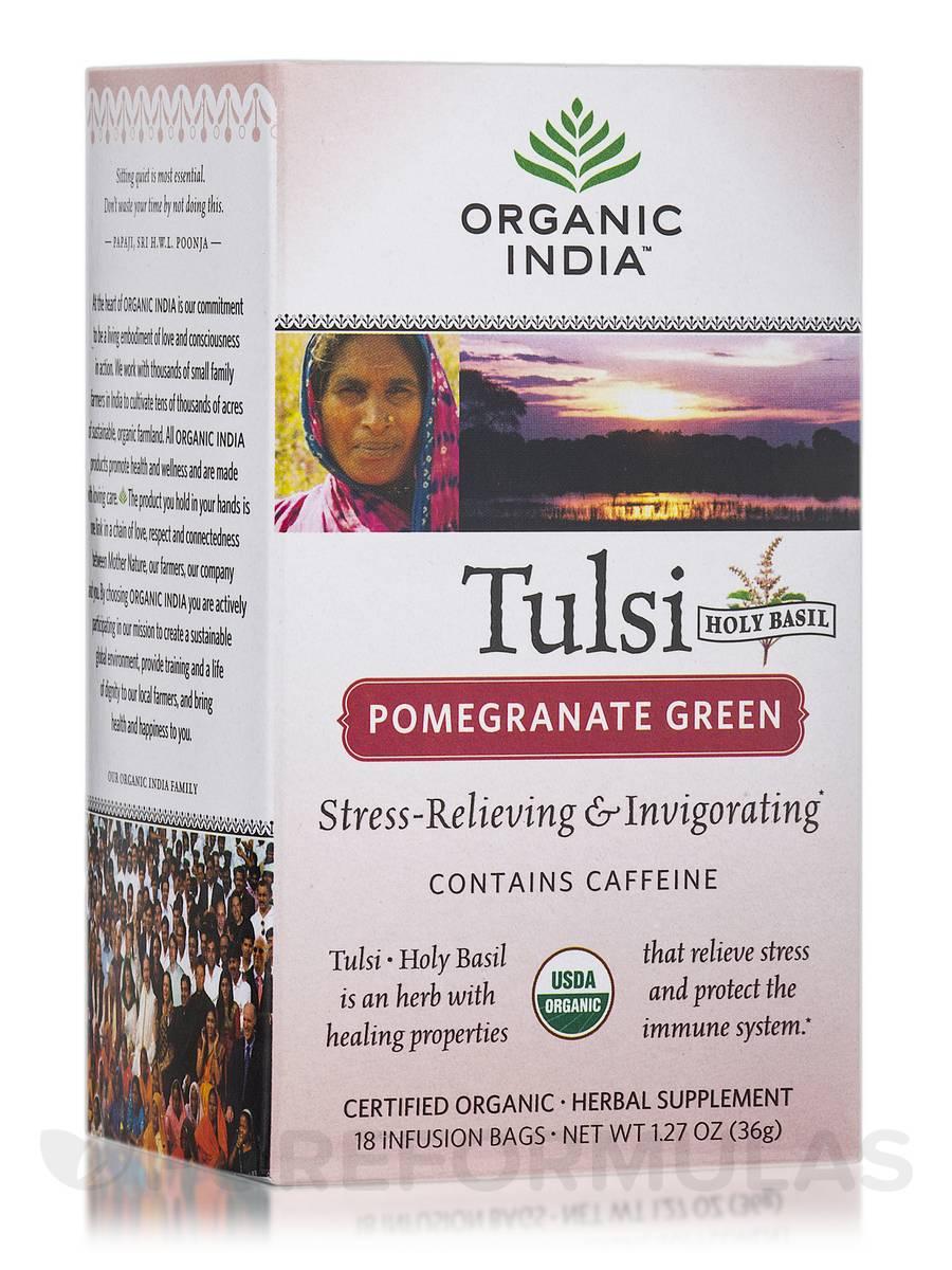 Tulsi Pomegranate Green Tea (with Caffeine) - 18 Bags (1.27 oz / 36 Grams)