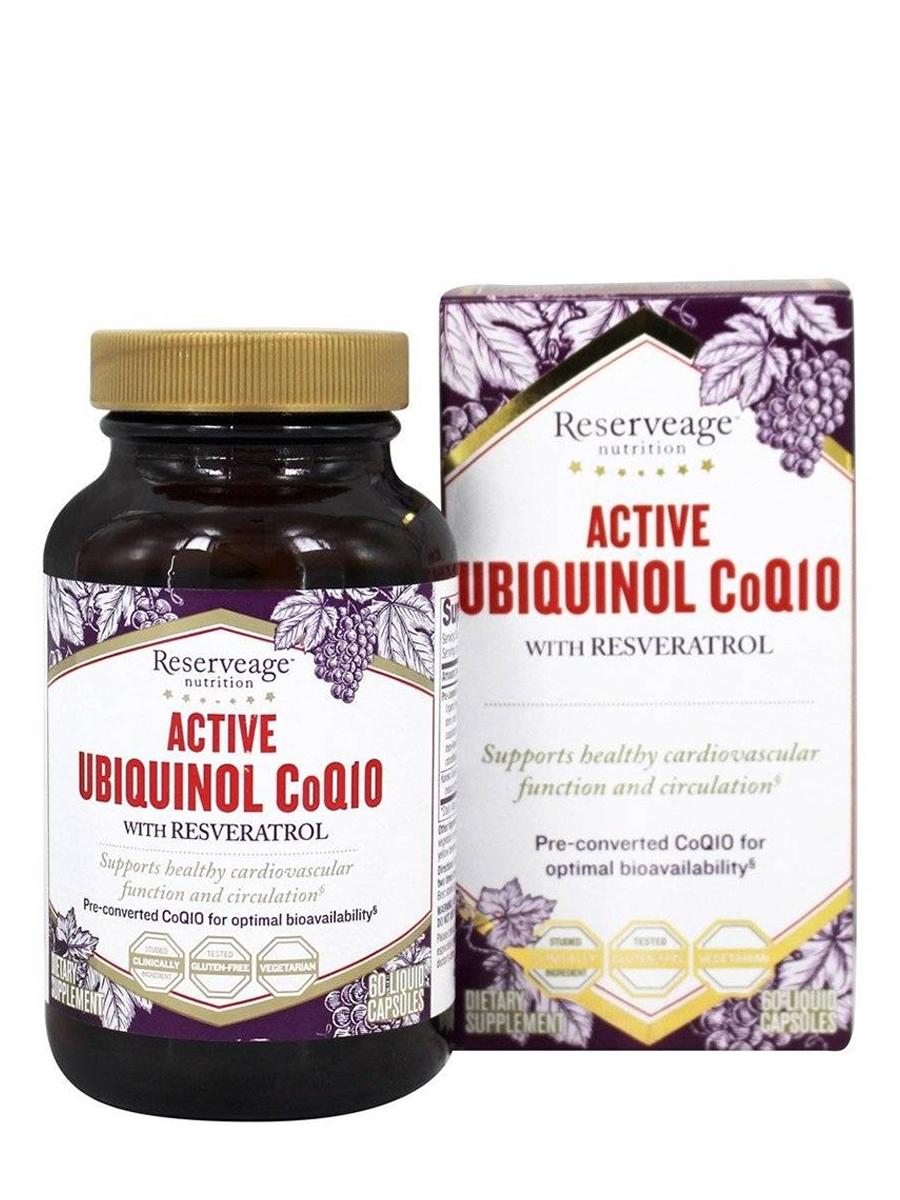 Active Ubiquinol CoQ10 with Resveratrol - 60 Liquid Capsules
