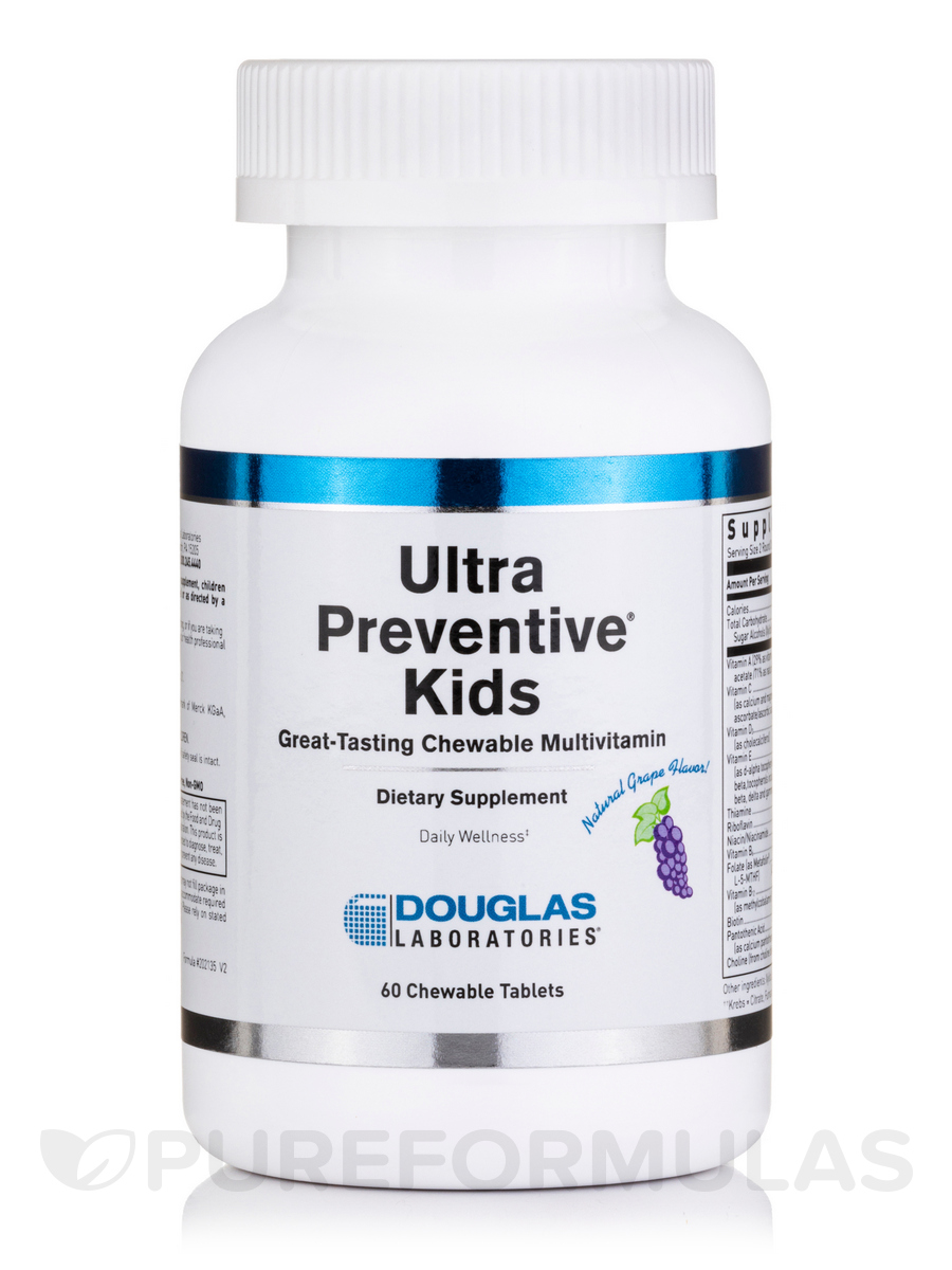 Ultra Preventive Kids Grape Flavor - 60 Bear-Shaped Chewable Tablets