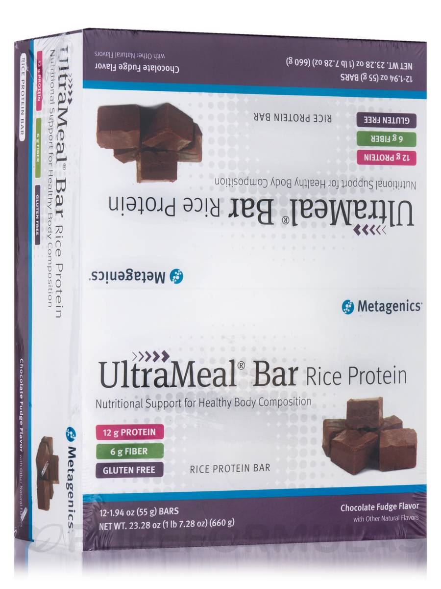 UltraMeal® Bar RICE (Natural Chocolate Fudge Flavor) - Box of 12 Bars (23.28 oz / 660 Grams)