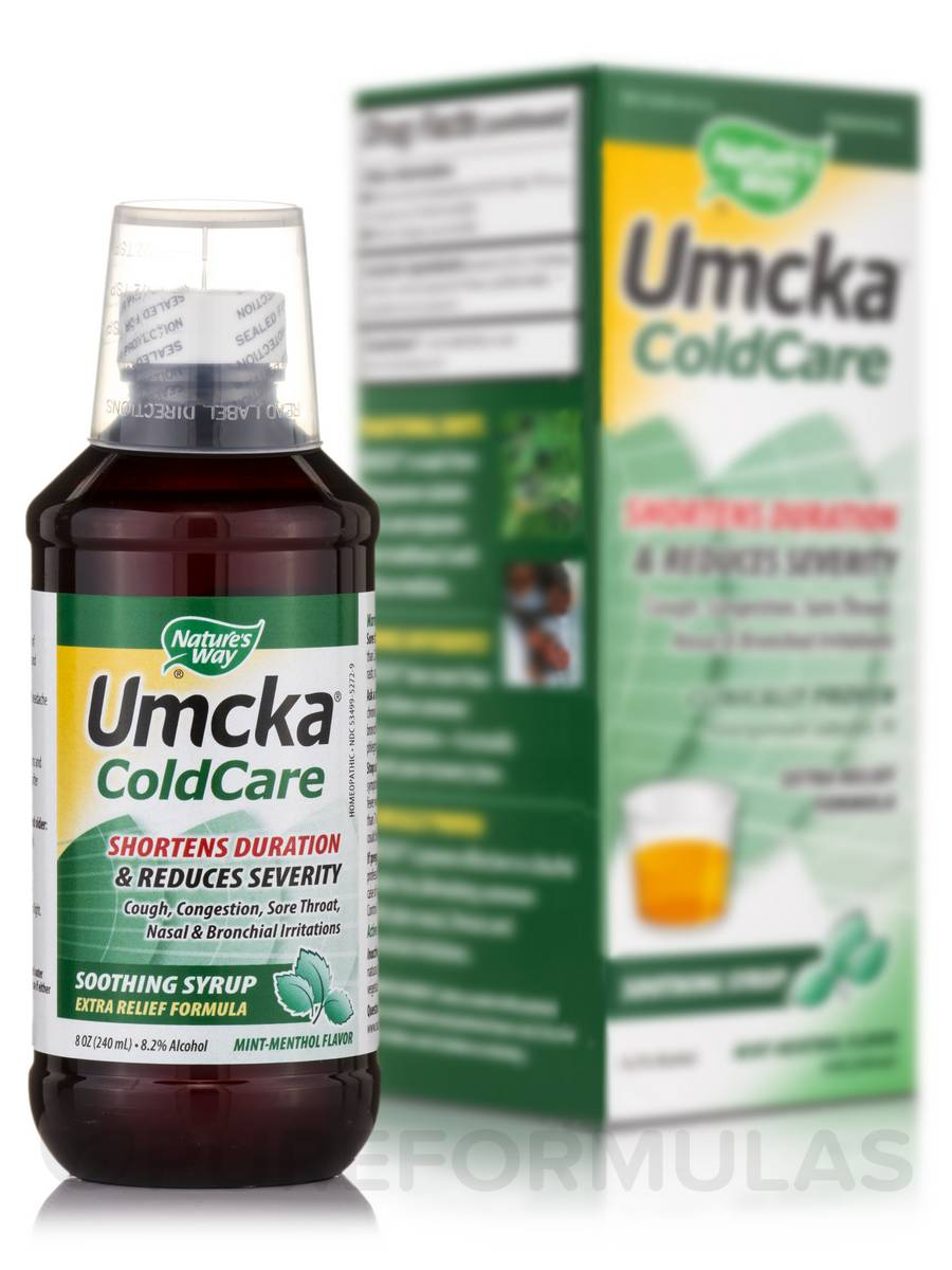 Umcka ColdCare Mint-Menthol Syrup - 8 oz (240 ml)