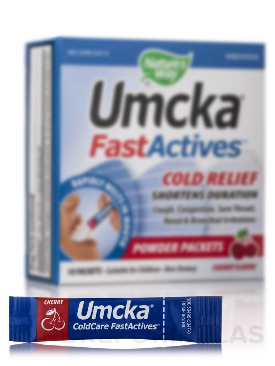Umcka FastActives Cold Relief - Cherry Flavor - 10 Packets