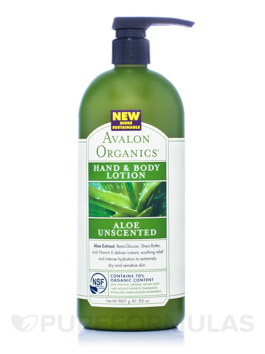 Unscented Organic Aloe Hand & Body Lotion - 32 oz (907 Grams)