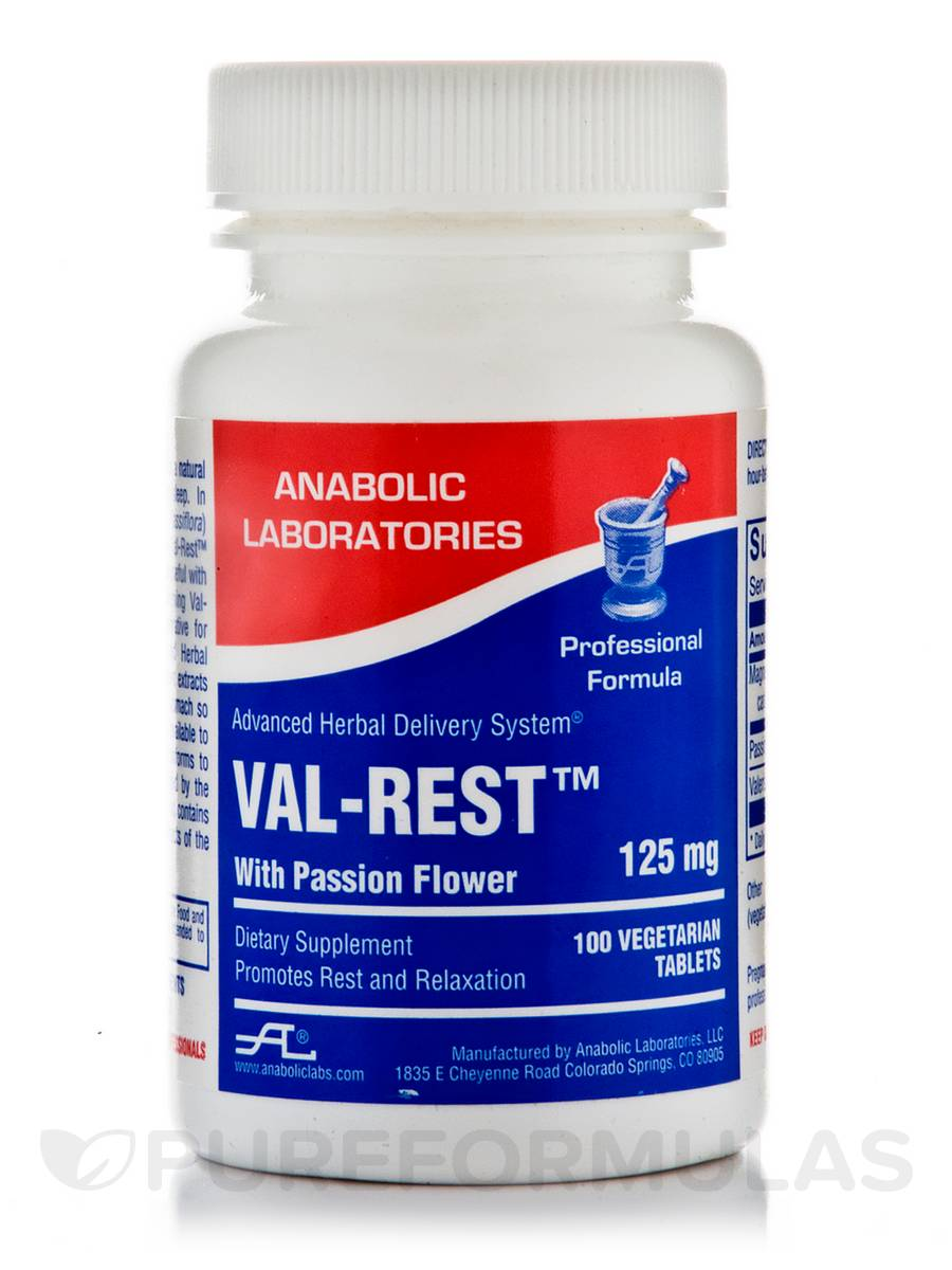 Val-Rest with Passion Flower 125 mg - 100 Vegetarian Tablets