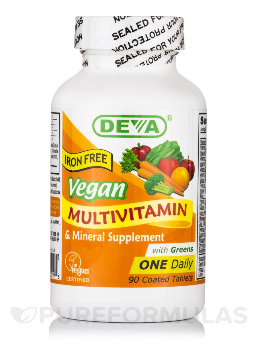 Vegan Multivitamin & Mineral Supplement with Greens (Iron Free) - 90 Coated Tablets