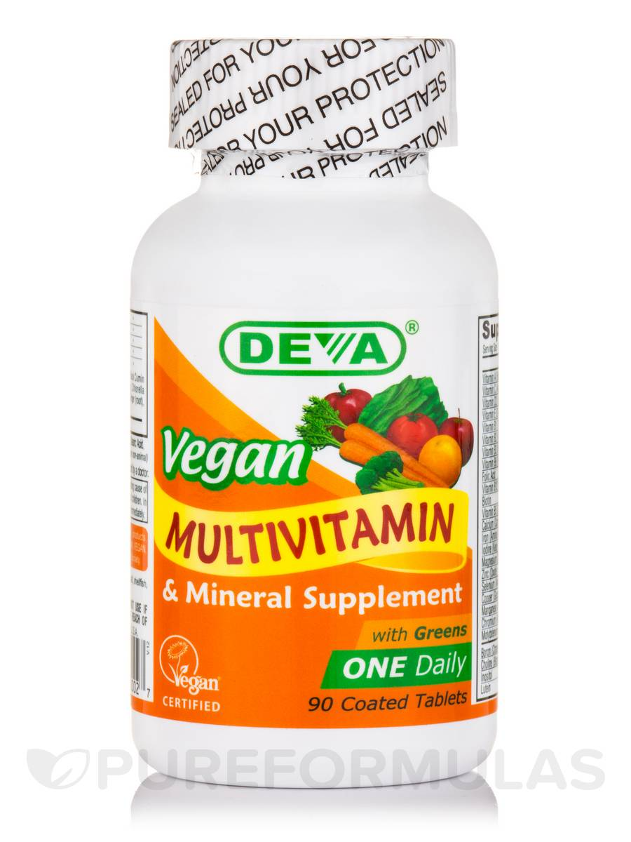 Vegan Multivitamin & Mineral Supplement with Greens - 90 Coated Tablets