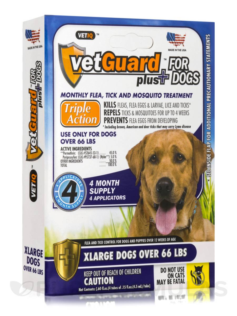 VetGuard Plus for Extra Large Dogs (Over 66 lbs) - Box of 4 Applicators (0.15 fl. oz / 4.5 ml Each) - 0.60 fl. oz