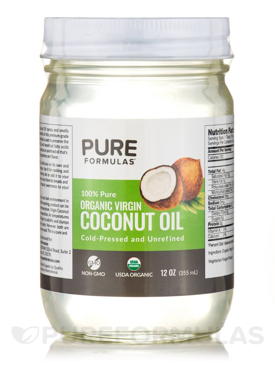 100% Pure Organic Virgin Coconut Oil - 12 fl. oz (355 ml)