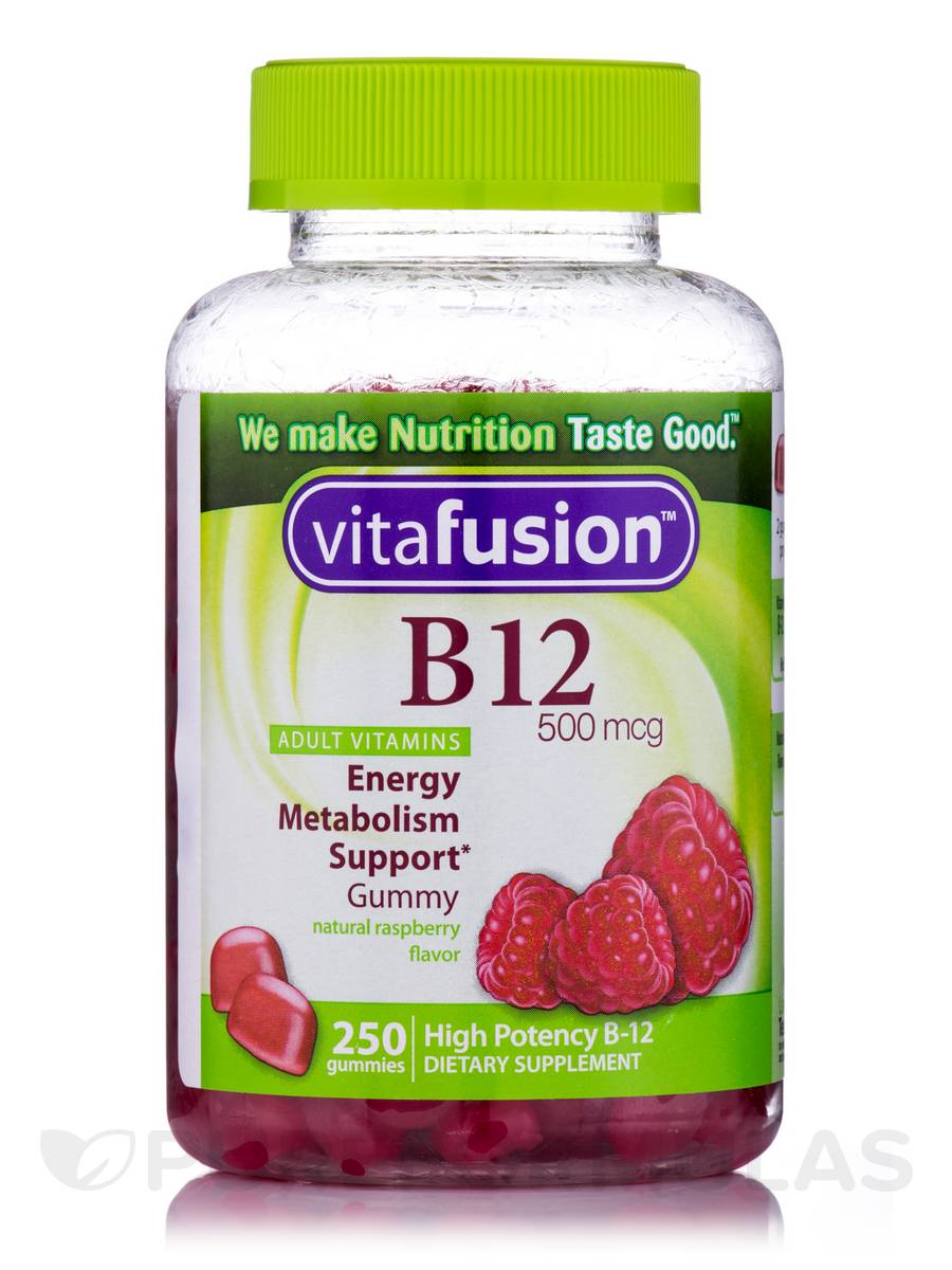 B12 Gummy 500 mcg, Natural Raspberry Flavor - 250 Gummies