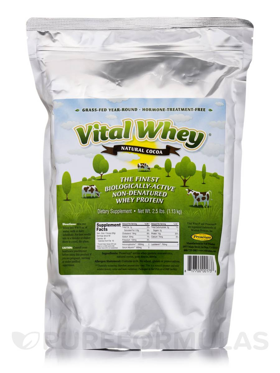 Vital Whey Natural Cocoa - 2.5 lbs (1.13 kg)