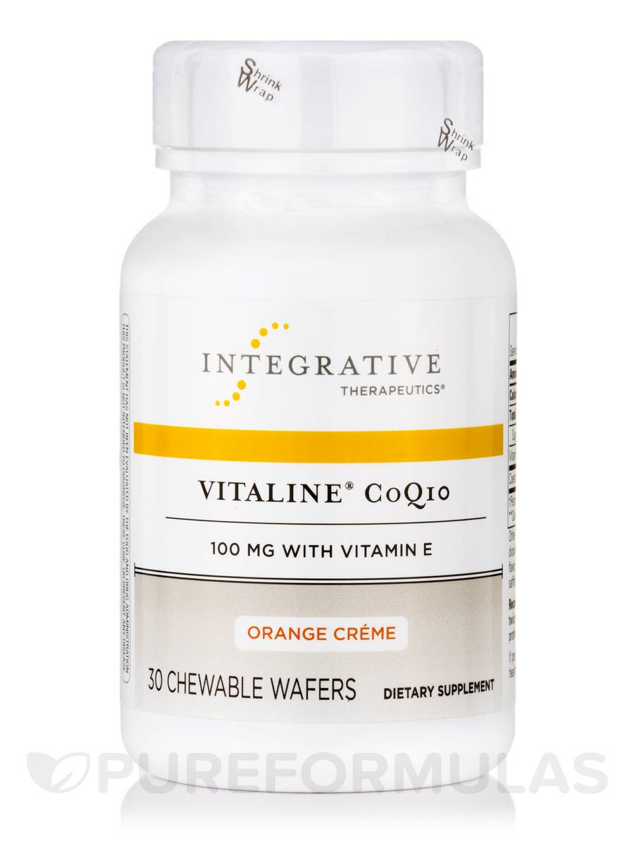 Vitaline® CoQ10 100 mg with Vitamin E, Orange Creme Flavor - 30 Chewable Wafers