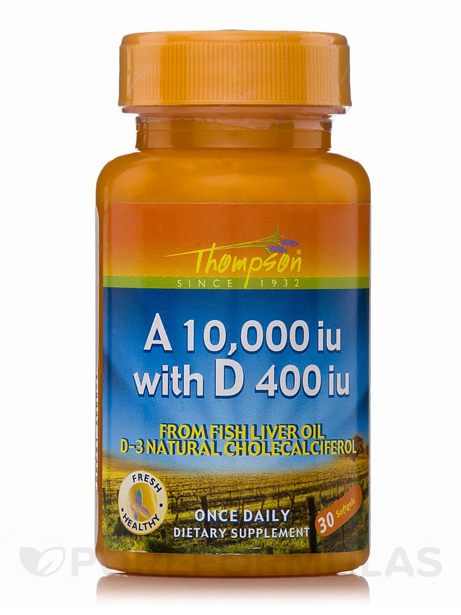 Vitamin A 10,000 IU with D 400 IU from Fish Liver Oil - 30 Softgels