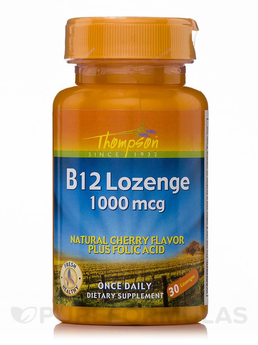 Vitamin B-12 1000 mcg (Natural Cherry Flavor plus Folic Acid) - 30 Lozenges