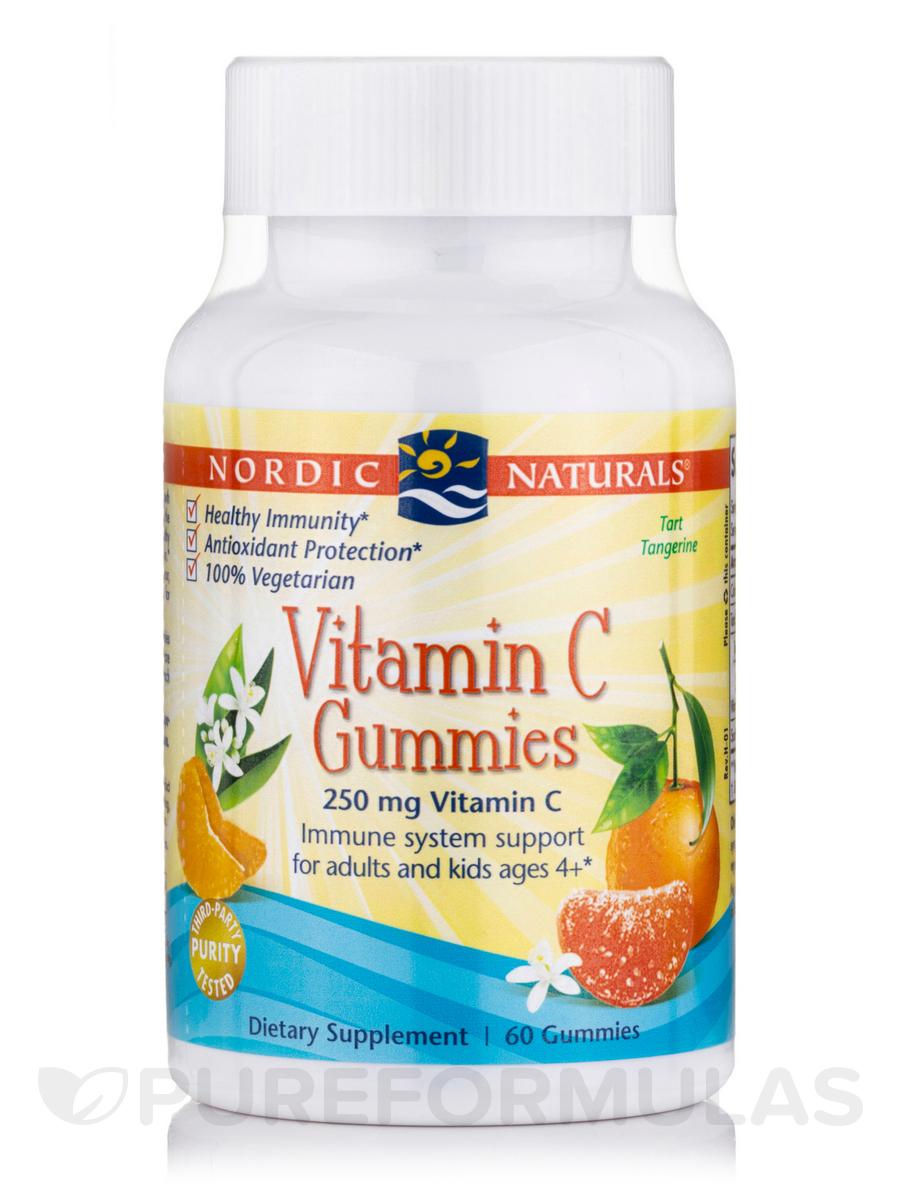 Vitamin C Gummies 250 mg, Tart Tangerine Flavor - 60 Gummies