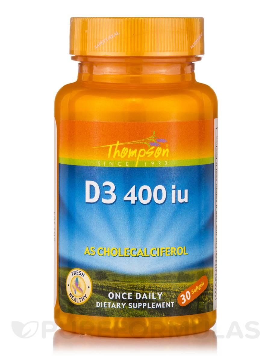 Vitamin D3 400 IU (as Cholecalciferol) - 30 Softgels